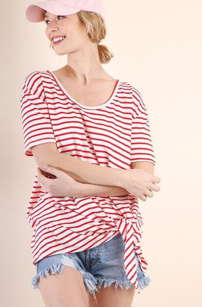 Red Striped SS Top