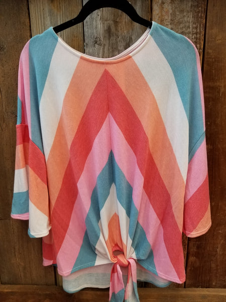 Pink & Blue Chevron Top