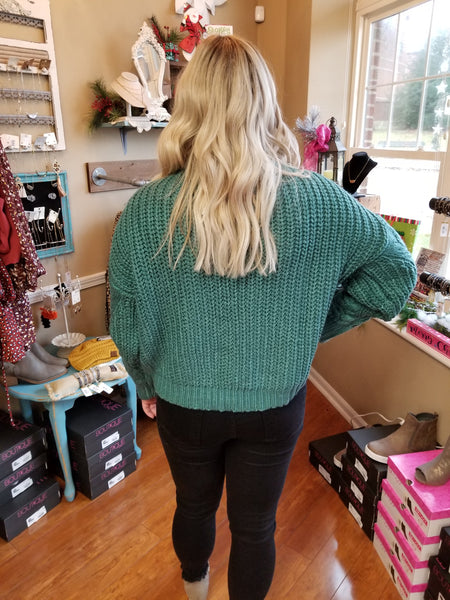 Cactus Green Cable Sweater