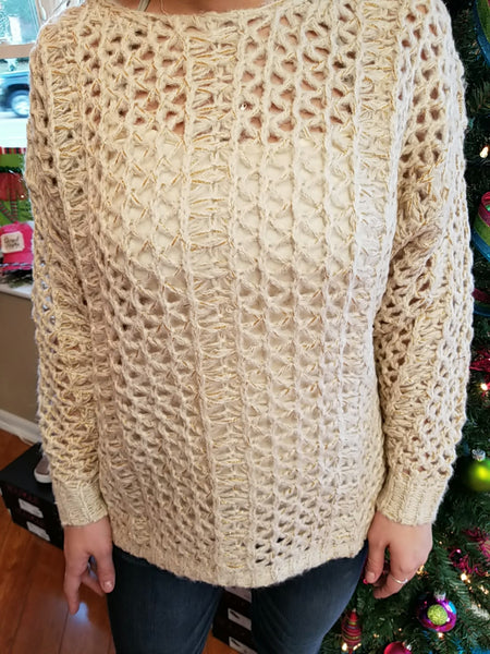 Taupe 2 tone Thread Knit Sweater