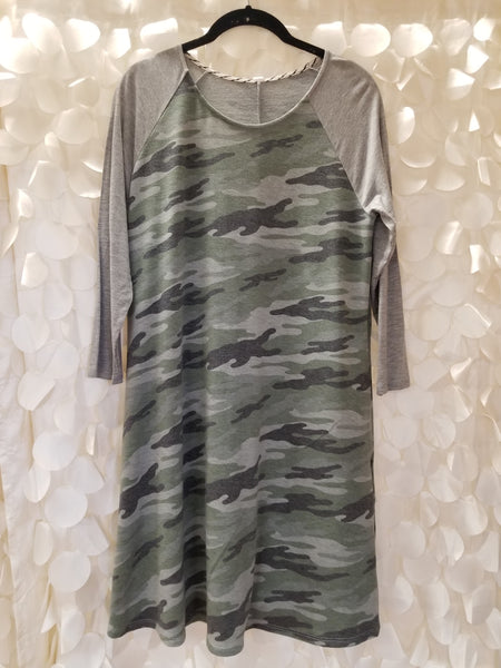Grey & Green Camo Dress