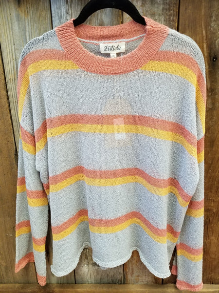 Grey Multi Stripe Knit Sweater