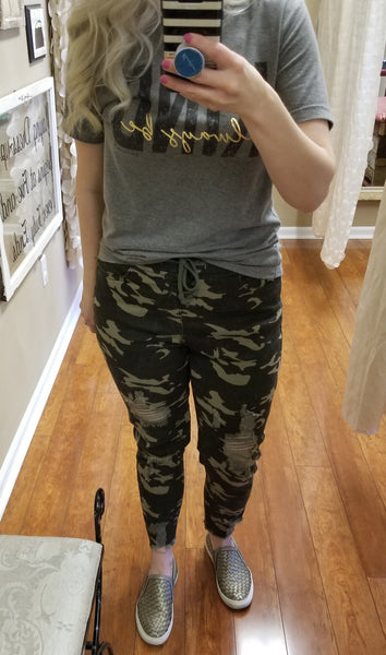 Camo Distressed Ankle Jogger