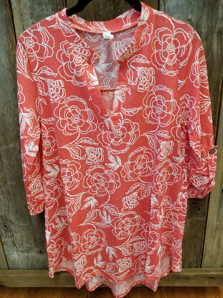 Coral Floral Gabby Top