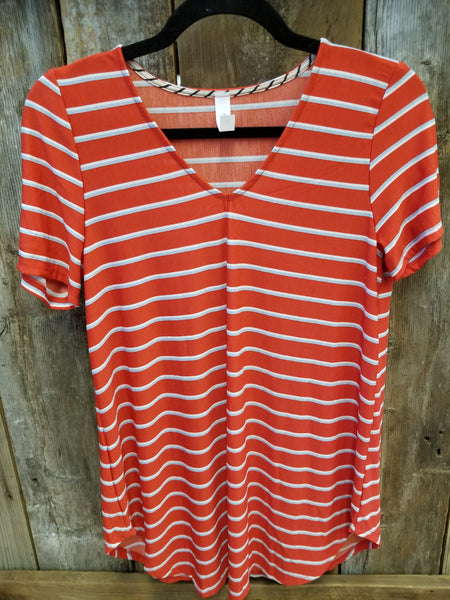 Red & White Stripe V-Neck