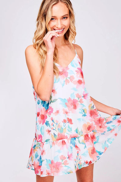 Ivory & Coral Floral Dress
