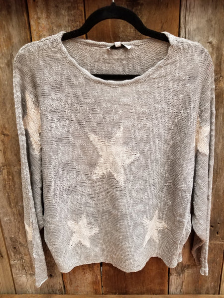 Grey Stars Lightweight Crop Sweater