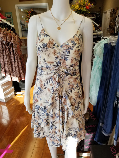 Cream Cinched Front Floral Dress