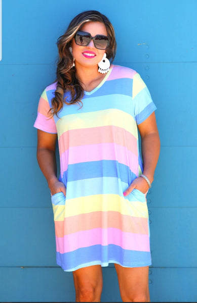 Color Block Pocket Dress