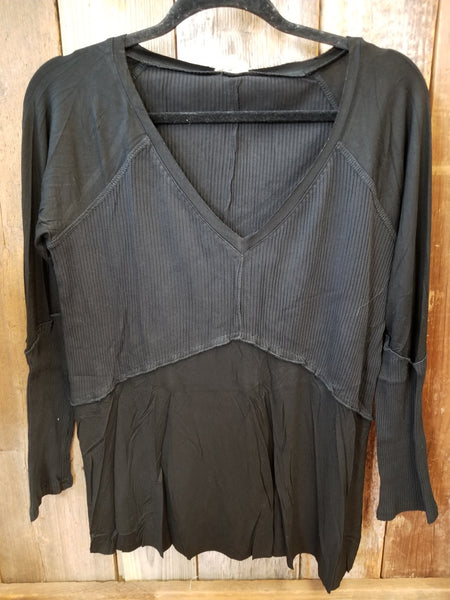 Black Rib Textured Top