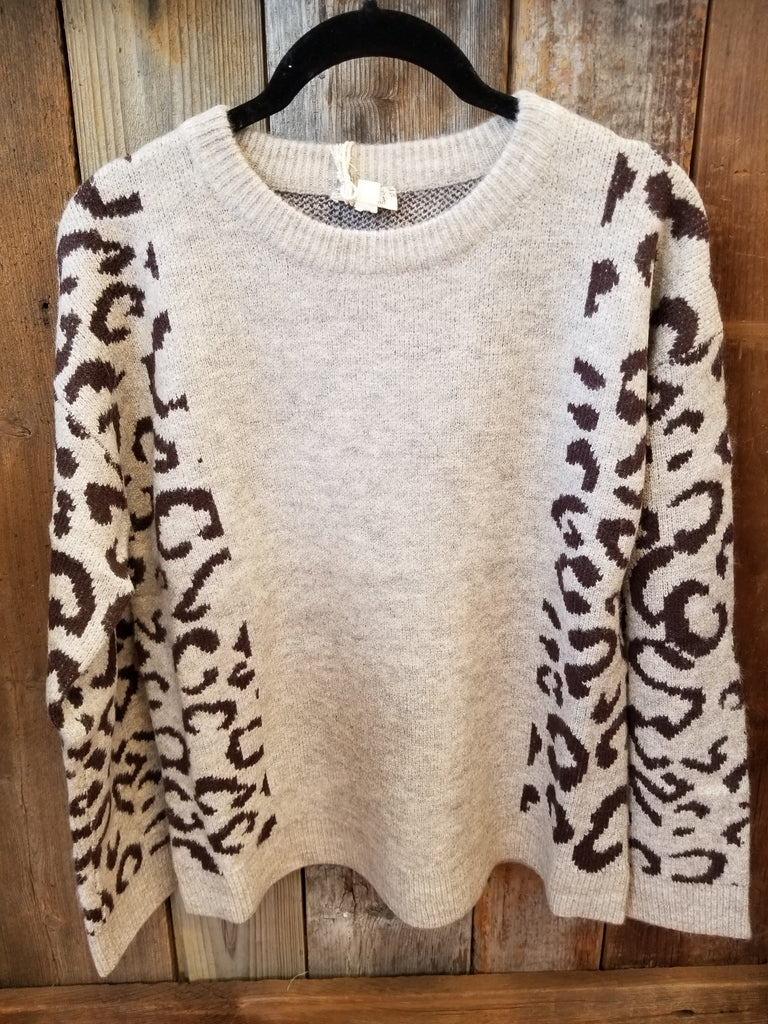Taupe Leopard Sleeve Sweater