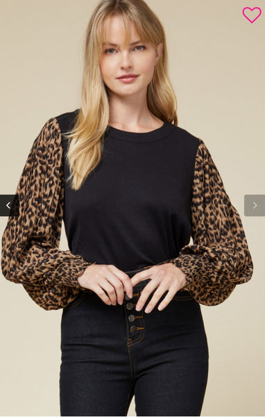 Pleated Leopard Sleeve Top