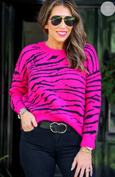 Pink Zoe Tiger Sweater