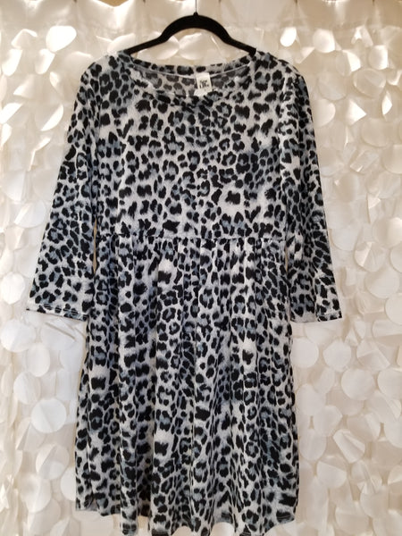 Black & Grey Leopard Babydoll Dress