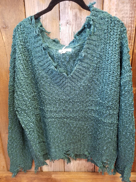 Teal Distressed Sweater