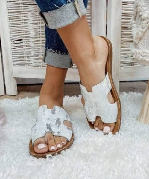 White Metallic Sandal