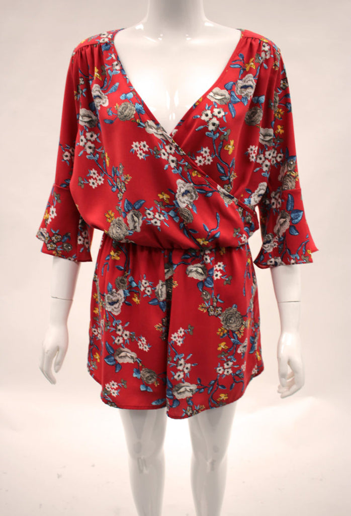 Red Bell Sleeve Romper