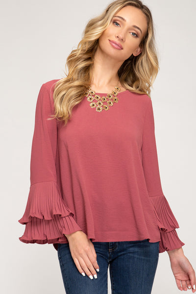 Dusty Mauve Bell Sleeve Top