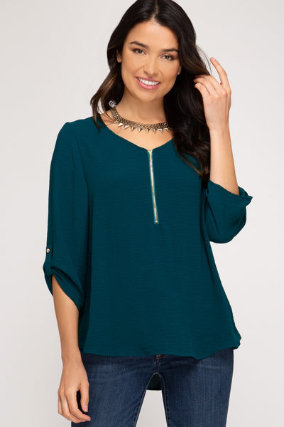 Sea Green Zipper Top