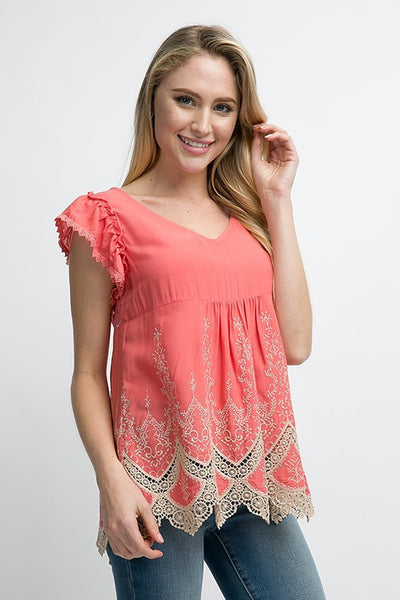 Coral & Taupe Top
