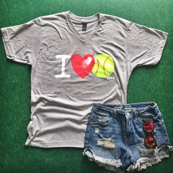 Adult I Love Softball Tee