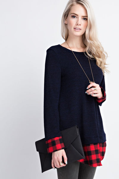 Black Buffalo Plaid Layered Hem