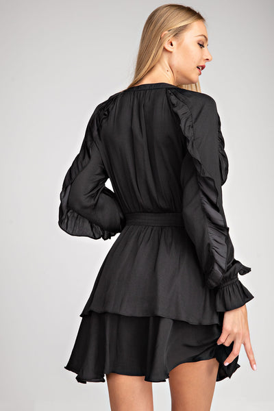 Black Ruffle Smock Waist Dress
