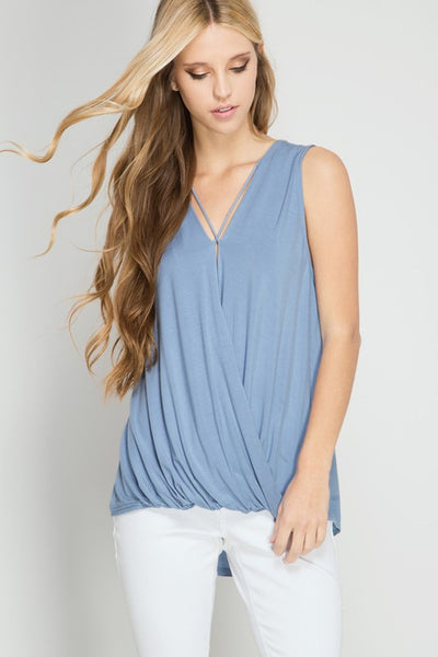 Blue Sleeveless Criss Cross Top