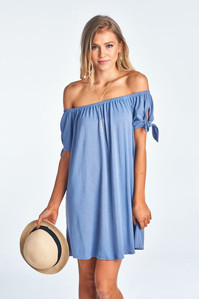 Blue Modal Off Shoulder Dress