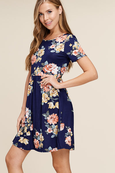 Navy Everyday Floral Dress