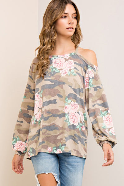 Camo Floral One Shoulder Top