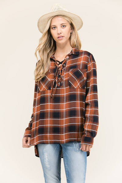 Clay Lace Up Plaid Shirt