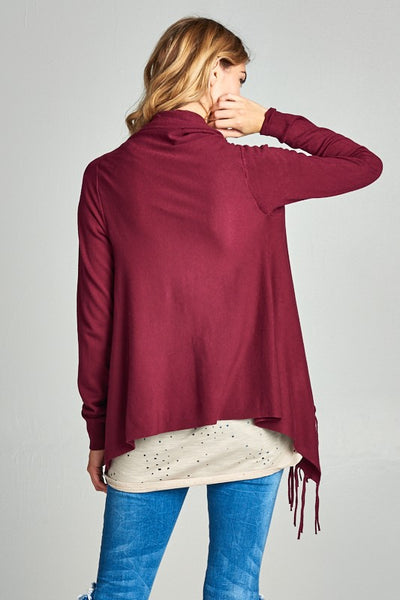 Mulberry Fringe Wrap Cardigan