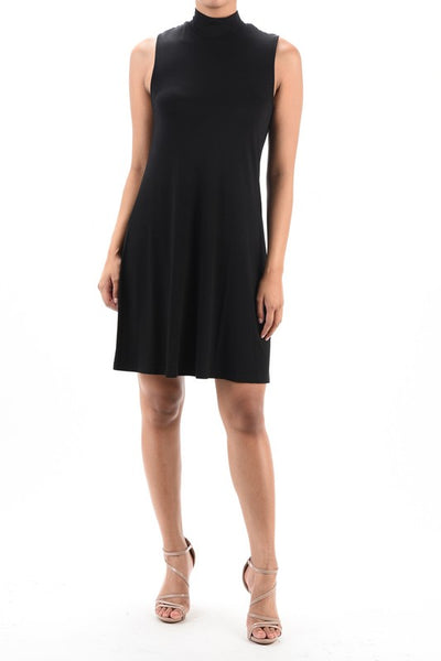 Black Ponti High Neck Dress