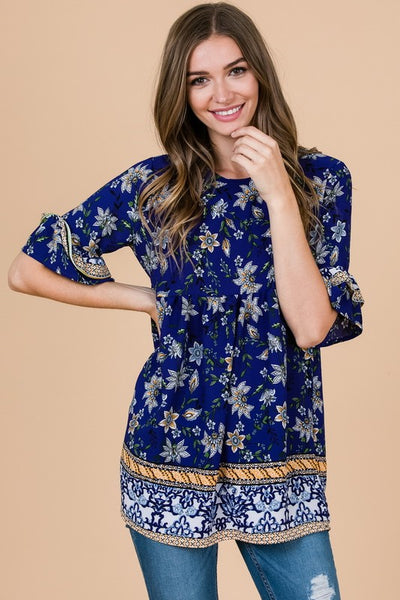 Royal Floral Top