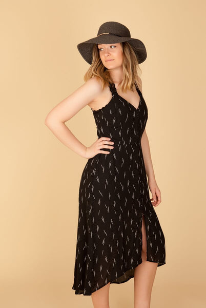 Black Button Down Cutout Dress