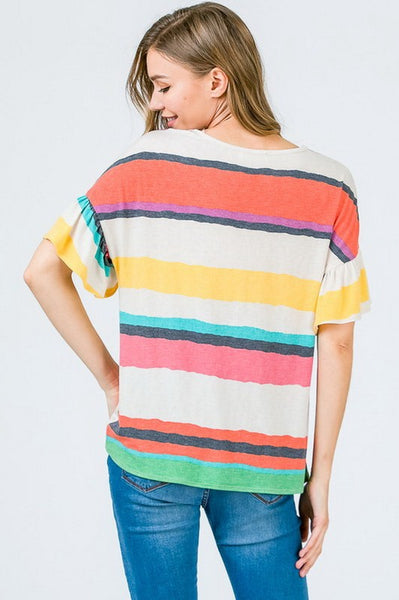 Summer Stripe Front Knot Top
