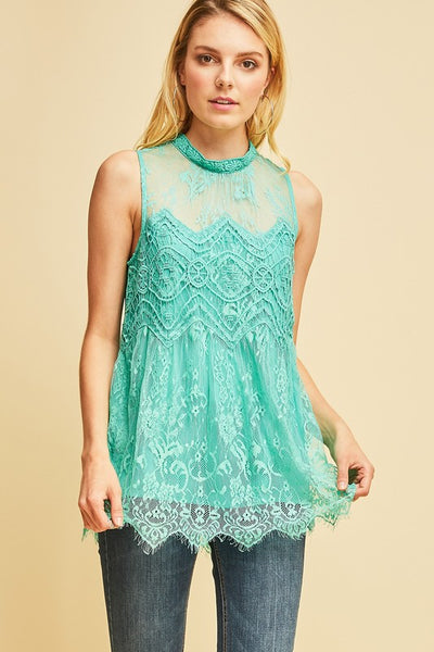 Jade Sleeveless Lace Top