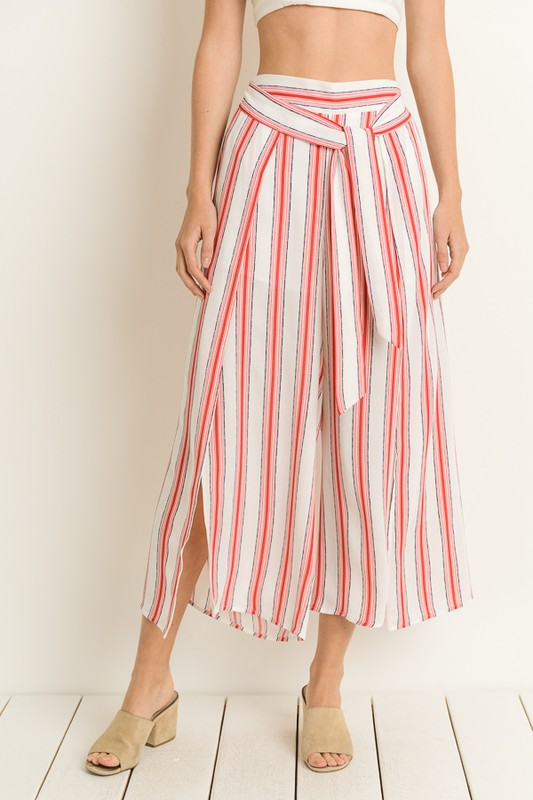 Red Striped Split Leg Pants