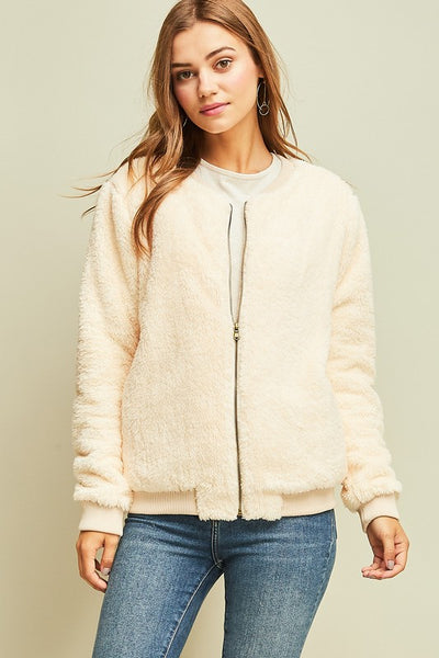 Cream Faux Fur Bomber