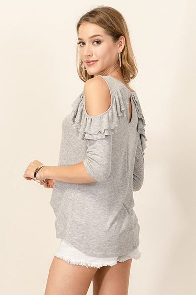 Heather Grey Cold Shoulder Top