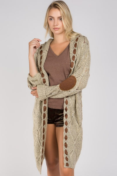 Beige Cable Hooded Sweater