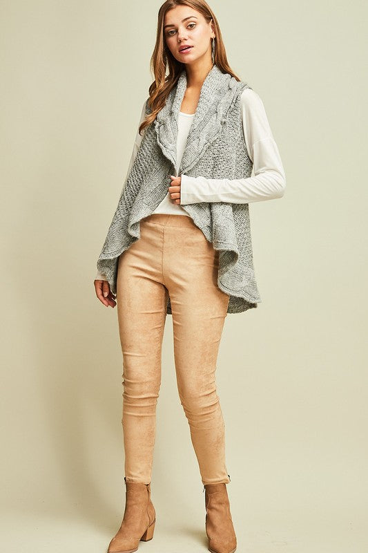 Grey Cable Knit Vest
