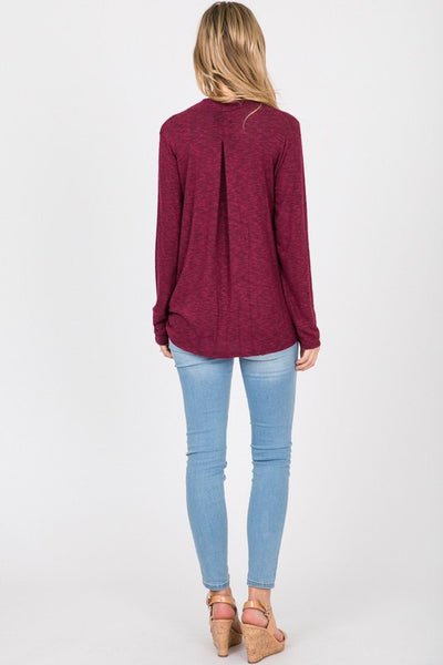 Burgundy Brushed Wrap Top