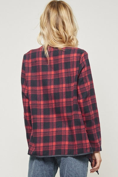 Red Plaid Waterfall Cardi