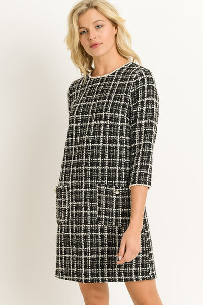 Black Plaid Shift Dress