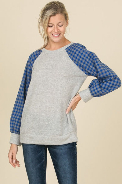 Blue Checkered Sleeve Top