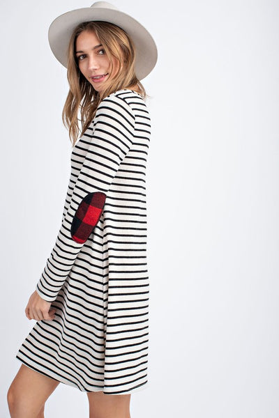 Black Stripe Tunic Dress