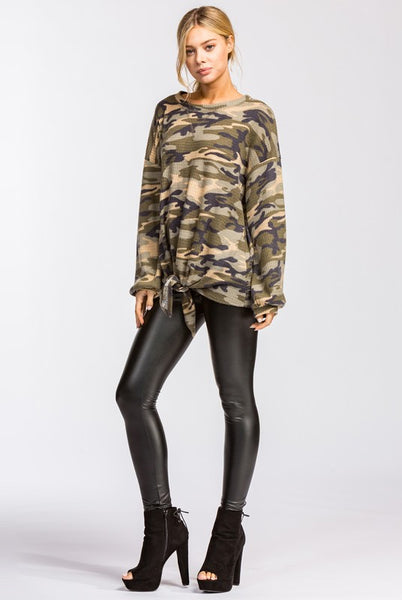 Camo Front Knot Top