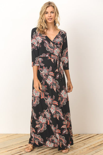 Black Print Faux Wrap Dress